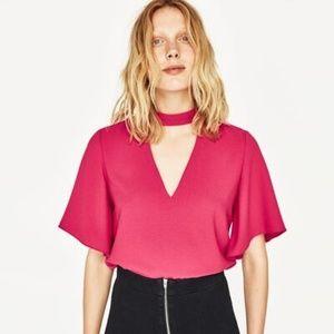 Zara V Neck Cutout Blouse